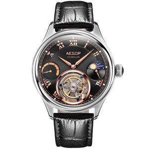 Aesop 100% real Tourbillon Assista Men Skeleton Mecânica Assista Lua Sapphire Ouro Top Marca de luxo Relógio Relógio Masculino Y200108