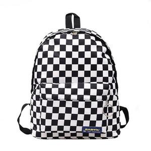 2019 핫 세일 여성 남성 Unisex 격자 배낭 새로운 트렌드 체커 보드 청소년 학교 가방 커플 백 팩 여행 가방 Y190627