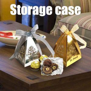 50pcs caramelo de contenedores a cielo abierto del caramelo de la caja de plata de oro del chocolate Negro Caja de almacenamiento para los musulmanes el Ramadán islámico decoración del festival