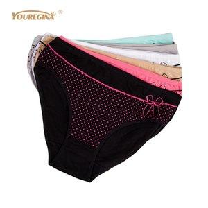 Youregina Biancheria intima delle donne Mutandine di cotone Plus Size Vita media Dot Print Carino Slip Ladies Traspirante Intimates 6pcs / lot J190715