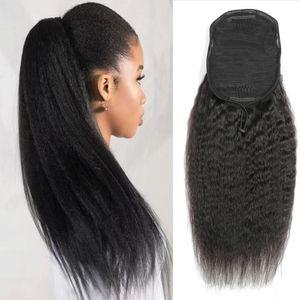 Kinky Straight Human Hair Panytail Brasilian Virgin Ponytail Hair Extensions con clips en el cordón de cola de caballo de yaki de Yaki barato para las mujeres