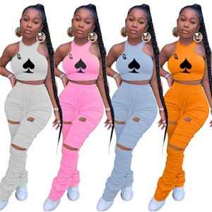 Poker Print Summer Womens Tracksuits Pleated Hole Sleeveless Halter Womens Two Piece Outfits Stacked Pants Solid Color Slim Womens 2pcs