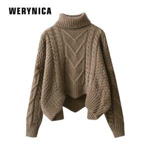 Werynica versión coreana del suéter de cuello alto suelto para mujer párrafo corto 2019 abrigo de suéter de aguja gruesa de invierno para mujer