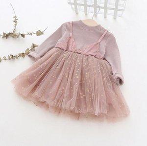 Kız Çocuk giyim elbise Bahar güz% 100% pamuk O-Boyun Uzun Kollu Katı renk ile yıldız örgü patchwork tasarım elbise