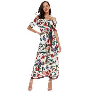 Şifon çiçek baskılı salıncak elbise yaz slash boyun seksi bayan tatil midi bel kemeri ile elbise