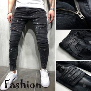 2019 nouveaux hommes Holes Jeans européen High Street Motard Jeans Hommes Hip Hop Ripped Jeans Slim pantalons Dropshipping