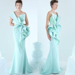 Sereia Vestidos de um ombro Bordados Ruffles Ruched vestido de festa glamourosa Dubai Moda até o chão Prom Vestidos ogstuff