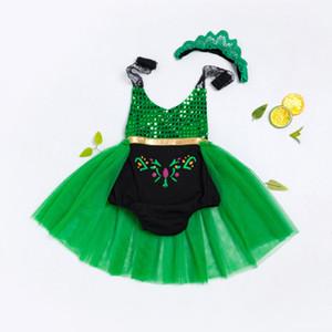 Mamelucos del bebé ropa para niños pequeñosNew summer girls mermaid lace sling vestido de moda 1-3 años de edad protección del vientre vientre ropa para niños