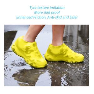 1pair reutilizável impermeável Non-Slip Silicone Chuva sapato cobre Elasticidade galocha Bota Overshoes Para Camping Outdoor Viagens