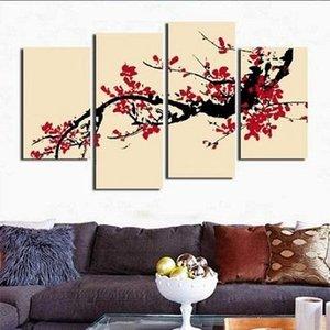 4 painel plum blossom Combinação, HandPainted Mordern Pintura A Óleo Abstrata Da Arte Da Parede Decoração Da Casa Na Lona Multi Tamanhos / frame Opções 06
