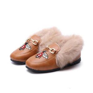Продвижение Зима Дети Повседневная обувь с бархатной Девушки моды Пчелиный вышивки Doug Обувь девушки плоской обуви для детей Обувь