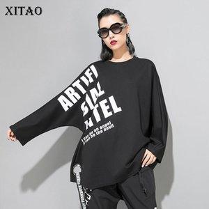 Xitao Drilling-Band-Druck-T-Shirt Frauen-Kleidung 2019 Mode Pullover Tide Brief Unregelmäßige T-Shirt Persönlichkeit New WQR1661 Y200412