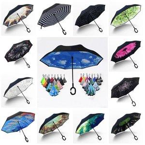 горячий Перевернутый Обратный Зонт Ĉ ручка ветрозащитный Reverse дождя Защита для автомобилей Зонт Ручка Зонтики бытовой Sundries DHA203