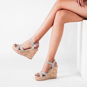 2020 sapatos de verão Mulher Sandals clássico Salto Alto Gladiator Abrir Toe bomba do tornozelo Buckle Slingback Wedge Plataforma Sandalias