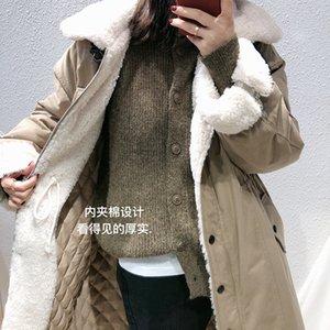 Mooirue Outono Inverno Harajuku Parka Jacket Overcoat Feminino Mulheres Cordeiro algodão acolchoado frouxa O Neck Impressão New Vestuário