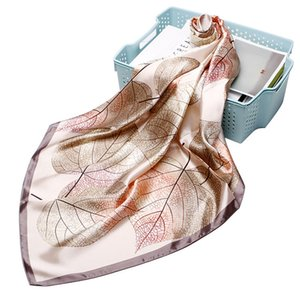 New fashion simulation silk small square scarf leaf print shawl 90cm * 90cm small square scarf CMshopee headscarf