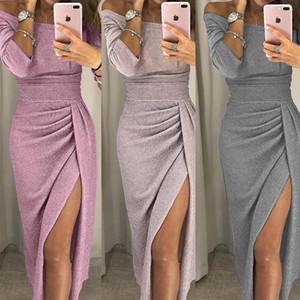 Sexy Split Temperament Wort Kragen Taille Temperament dünnes Kleid Prickelnde Kleider für Frauen Shiny Fashion Party Nachtclub-Kleid