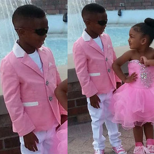 Hot Pink 2 Pieces Boys Formal Wear For Wedding Notched Lapel Little Boy Suit Kids Wedding Prom Suits Tuxedos (jacket+pants)