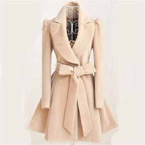 Especially Autumn Winter Blend Coat Women 2018 Slim Long Trench Coats Female Sweet Bow Belt Windbreaker Woman Cashmere Hot Sale1