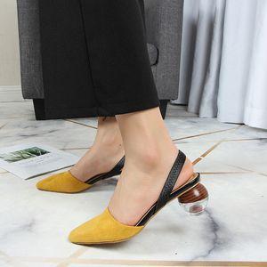 Back Strap Sandali Donna Shallow Strange Heels Slides Closed Toe Shoes Donna Casual Ladies Sandalias Mujer Nero Giallo Bianco Y19070503
