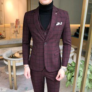 Hombres juego de la manera de la tela escocesa ocasional del juego de negocio Slim Fit chaqueta para hombre caballero Inglaterra trajes de tres piezas traje de boda masculino de la capa de la chaqueta de las bragas