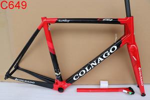 Siyah kırmızı 2019 Colnago C64 Karbon Çerçeve Tam karbon yol bisiklet bisiklet çerçeve seti fit Di2 Eğimli Mekanik dişli
