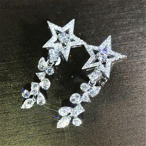 choucong Fashion Star Flower Drop earring 5A zircon 925 Sterling silver Engagement Wedding Dangle Earrings for women jewelry