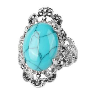 Anello da dito vintage turchese da donna nobile marchesa argento antico cristallo ovale opale anello di pietra rossa in acciaio inossidabile Nobel Palace prodotto