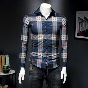 2020 nouveau printemps chemise à manches longues hommes Big Wind Navy chemise à carreaux Qiantang 6016-S007P75