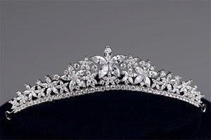 Полный Циркон тиара CZ Корона оголовье свадебные аксессуары для волос диадема украшения для волос диадемы и короны Diadema Coroa Noiva WIGO0865