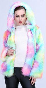 Quente espessamento colorido Outwear Brasão Casual manga comprida senhoras Roupa Mulheres Moda Desigenr Faux Fur Curta Casacos com capuz