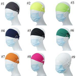 9 цветов Девочка стяжка с кнопкой для ушной пыли маска Женщины Gym Спорт Йоги скрещенных Hairbands Headwrap Эластичных Аксессуаров для волос