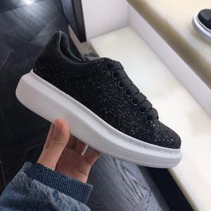 New Classic Casual calça as sapatilhas das mulheres dos homens Moda Top Quality sapatos de couro liso Trainers Black Velvet Glitter White 35-46 Com Saco Box