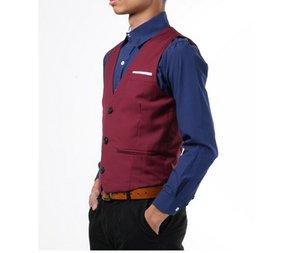 Chegada Nova Mens Slim Fit Vest terno de três botões cabido Lazer Colete Business Casual Tops O revestimento dos homens