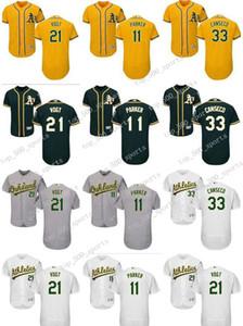 personalizado Homens mulheres jovens Oakland Athletics Jersey # 11 Jarrod Parker 21 Branca Stephen Vogt 33 Jose Canseco Início Gray Gray Baseball Jerseys