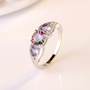 Crystal Fashion forma redonda colorida de cristal jóias Zircon Engagement Rings Glamour Wedding Rings de Mulheres