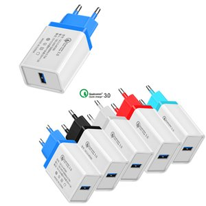 QC 3.0 Fast Charger Quick Wall USB Charge Travel Power Adapter US EU Plug iphone charger for iPhone X Samsung S10 NOTE10