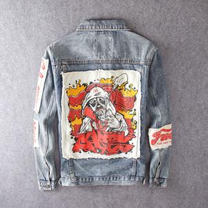 Fashion Streetwear Men Jackets Retro Blue Patchwork Designer Hip Hop Jackets Men Punk Style Denim Coats Printed Biker Jackets NZ2214