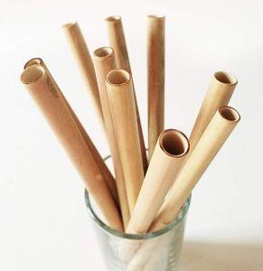 Bambusstrohhalme 19,5 cm Bambustrinkhalm Wiederverwendbare umweltfreundliche handgefertigte natürliche Strohhalme Reinigungsbürste 200 Stück OOA6878