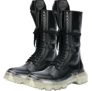 Martin Genuine Leather High Top Boots European and American Heavy-Bashing Personalità Tide Tide Tooling Transparent Bottom Shoes