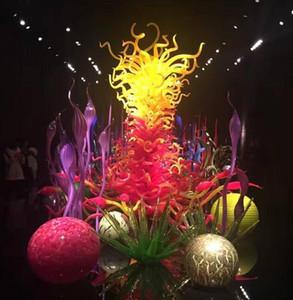 Multi Color vidro fundido Floor Lamp Hotel Aplicação Escultura de vidro Murano Grande Lamp Andar para decoração Art