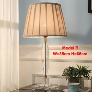 tissu Lampes de table en cristal contemporaine lampshade bureau lumière hôtel de luxe bureau villa éclairage de la salle d'étude chambre chevet lampes de table conduit