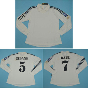 최고 2002 레알 마드리드 백년 긴 소매 레트로 유니폼 지단 축구 유니폼 FIGO 고전 로날도 축구 셔츠 라울 타이츠 드 발
