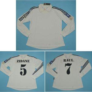 Top 2002 Centenario del Real Madrid de manga larga jerseys retro ZIDANE fútbol Jersey FIGO clásica camiseta de fútbol RONALDO RAUL maillot de pie