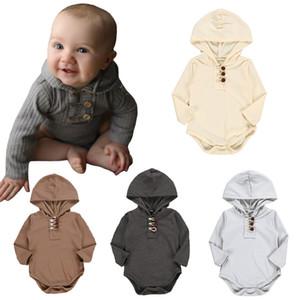 tutine neonato con cappuccio delle tute morbido della banda del cotone Pieno Colore di filo maniche lunghe con cappuccio triangolo pagliaccetti per vestiti del bambino M874