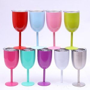 10oz Wine Glasses 304 Stainless Steel Double Wall Vacuum Tumbler Insulated Cups With Lids Red Wine Glass cups DHA98