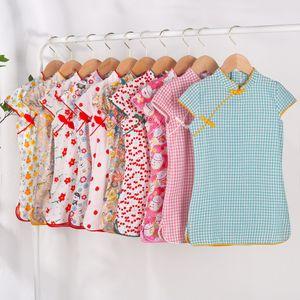 2020 새로운 캐주얼 아기 소녀 중국어 드레스 치파오 레트로 꽃 인쇄 인 새로운 여름 부티크 귀여운 드레스