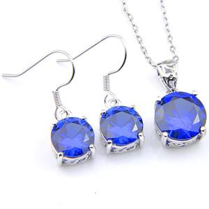 Luckyshine Dono sposa Sets earrigns Pendenti tondo svizzero Topaz blu della pietra preziosa 925 dei monili di Sterling Silver Collane donne