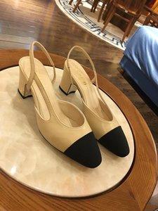2020Women 슬링 하이힐 샌들, 클래식 누드 가죽 베이지 그레이 여성 파티, 웨딩 드레싱 신발 용 펌프