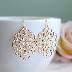 Hook Earrings Boemia del merletto del ritaglio orecchini di pendente Donne Wedding